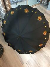 Antique Umbrella Parasol Embroidered Flowers