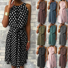 Womens Sleeveless Polka Dot Dress Ladies Summer Holiday Beach Mini Shirt Dresses