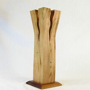 """Erik Jorgensen Contemporary Modern Danish Wood with Glass Cylinder Vase 12.5"""" H"""