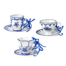 Porcelain Teacup and Saucer Christmas Ornaments, 2-Inch, 3-Piece