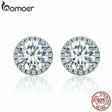 BAMOER Elegant S925 Sterling Silver Stud Earrings With CZ For ladies Jewelry HOT