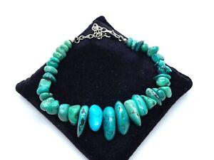 Vintage Sterling Silver Graduated Turquoise Nugget Stone Adjustable Bracelet