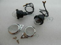 NEW PAIR FROSTED PILOT LAMPS ROYAL ENFIELD CHROME RIMS BRAND NEW