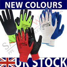 More details for 24 pairs nylon latex rubber coated palm safety grip work gloves builders garden