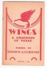 WINGS A QUARTERLY OF VERSE Winter 1942 - review of Walter De La Mare poetry book