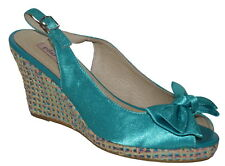 Pilar Abril Turquoise Satin Wedge Peep Toes Size 4 SP £65