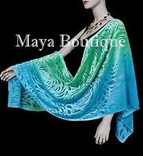 Jade Turquoise Camellia Shawl Wrap Scarf Burnout Velvet Hand Dyed Maya Matazaro