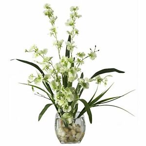 19 in. Dancing Lady Orchid Liquid Illusion Silk Flower Arrangement in Green