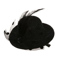 F7 Feather Net Bow Hair Clip Black Mini Top Hat Party Lolita Cosplay Goth F6