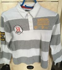 Polo Longues Manches Rugby EGG 12 Ans Blanc Gris