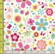Riley Blake Snug Bugs Flowers FLANNEL Cotton Sewing Fabric ¼ yd 22.5 cm off bolt