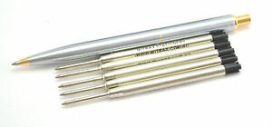 Quality stainless steel click pen gold Trim + 5 Black Mitrax brand refills