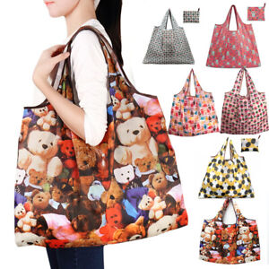 Large Reusable Foldable Ladies Shopping Bag Eco Tote Handbag Folding Bags