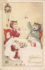 1950s FRITZ BAUMGARTEN Anthropomorphic cats family New Year old German postcard