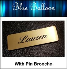 Name Badge -With Pin -(Gold) 64mm x 20mm - Nurse, Staff, Clubs, Bowls, etc..