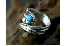 925 Sterling Silver Adjustable Feather Ring Leaf Turquoise Stone Statement Ring