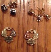 10k Yellow Gold Harley Davidson Earrings Black Hills Gold Black Diamond Earrings
