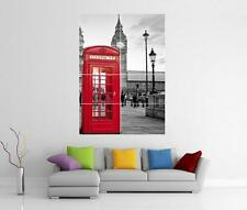 Londres Escena Rojo Teléfono Caja Big Ben Pared Arte Impresión Foto Poster Gigante