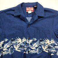 RJC Men's Hawaiian Size Medium Aloha Tropical Button Camp Shirt Blue