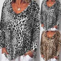 Women Long Sleeve Casual Loose Leopard Printed Tops Tunic Shirt Blouse Plus Size