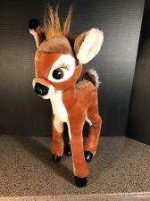 Vintage Disney Bambi Stuffed Animal Plush Standing Adjustable Legs Hard Eyes