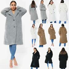 New Women Ladies Teddy Button Front Long Coat Vintage Faux Fur UK Size
