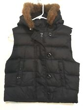 Gap Womens M Puffer Puffy Vest Zipper Button Faux Fur Trim Hood Black