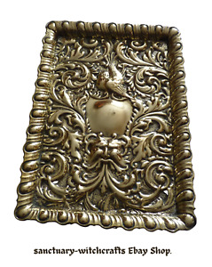 Antique Victorian Green Man & Bird Repousse Dressing Table Tray. EPNS.