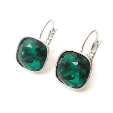 w/ Cushion Cut Swarovski Crystal 4470 Emerald Green Holiday Party Drop Earrings