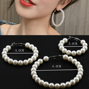 HOT 1 Pair Accessories Big Circle Loop Beaded Ear Hoop White pearl Hoop Earrings