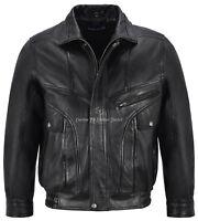 Men's Vintage Leather Jacket Black Classic Rough Biker Style Real Lambskin 8553