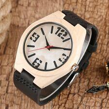 Unisex Orologio in legno Orologio da polso nero bianco Cinturino in pelle bambù
