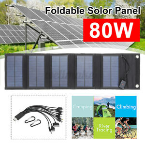 10 in 1 80W Foldable USB Solar Panel Portable Waterproof Outdoor Battery Charger