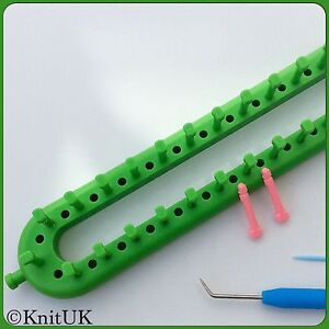 KnitUK Long Green Knitting Loom 50 Pegs + 50  Extra-Pegs.