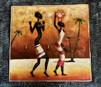 Original, Signed, Oil Painting, ETHNIC, AFRICAN WOMEN in TRADITIONAL CLOTHING.