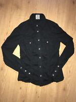 EUC XS True Religion Long Sleeve Black Button Down Cotton Shirt Top Bling Rare