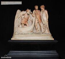19th C. Terracotta Roman Figure Group - Alfred Werner Wien Vienna + Wood Stand