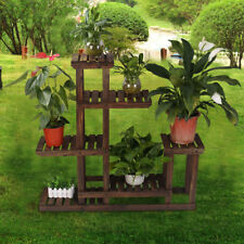 Wooden Flower Plant Display Stand Multi Tier Wood Shelf Storage Rack Home Garden
