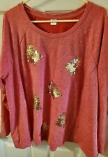 Holiday Time Red Christmas Tree Sweatshirt (lightwt) sz 2X 20W-22W New w/out tag