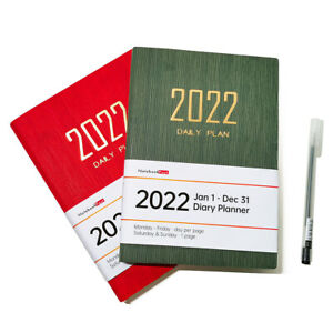 Soft Leather Cover 2022 Daily Planner One Day Per Page 12 Month Organizers, A5