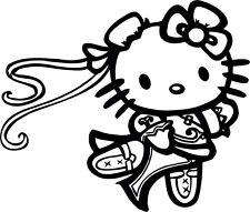 HELLO KITTY CHUNLI -STREET FIGHTER-DECAL-FREE SHIPPING 6 INCH FOR INDOOR/OUTDOOR