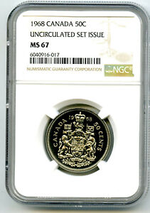 1968 CANADA 50 CENT NGC MS67 HALF DOLLAR UNCIRCULATED SET ISSUE POP ONLY 1