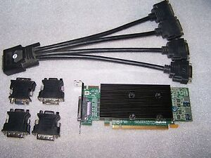 Matrox M9140 Quad Monitor 512MB PCIe x16 Graphics Card + Quad Cable + Adapters