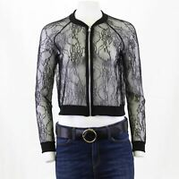 Zara W&B Black Lace Mesh Bomber Shaket Zip Up Top LS Jacket M OTOT