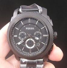New Old Stock FOSSIL Machine FS4552 Chronograph Date Black SS Quartz Men Watch
