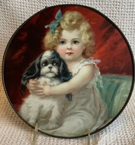 FLUE COVER LOT #60 Little Girl with Puppy Dog maybe Spaniel Adorable