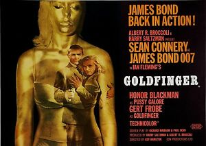 Home Wall Print - Vintage Movie Film Poster - JAMES BOND GOLDFINGER -A4,A3,A2,A1