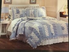 Laura Ashley Rebecca Twin Quilt Blue White Floral Gingham