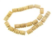 Vintage Cream Sand Chunky Ribbed Edge Column Barrel Fossil Granite Stone Beads