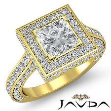 Halo Pave Set Princess Diamond Engagement Ring GIA F VS2 18k Yellow Gold 3.1ct